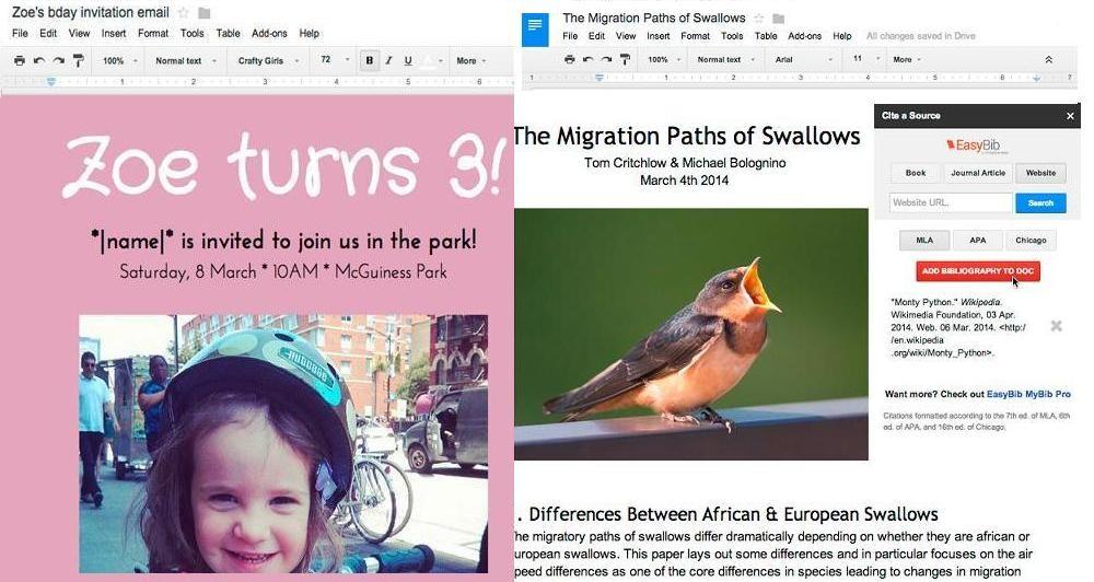 Google Drive: Πρόσθετες επιλογές στα Google Docs