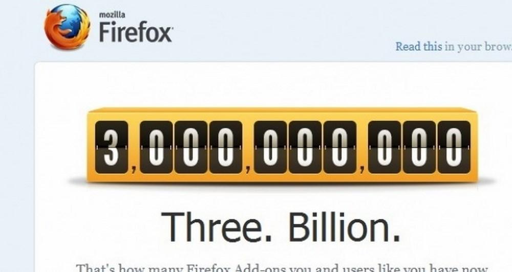 Τρία δις downloads τα add-ons του Firefox