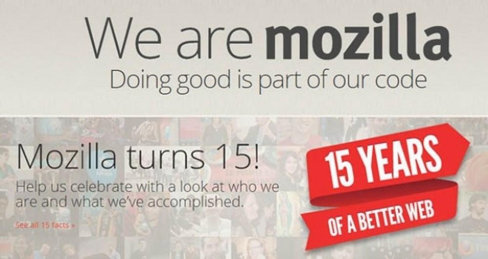 Ο Mozilla έσβησε 15 κεράκια