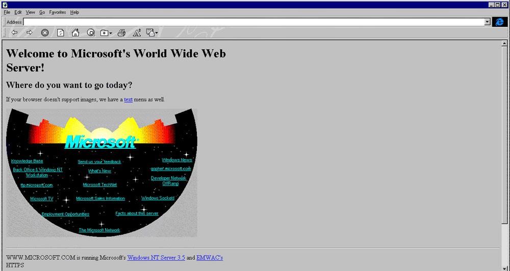 Η ιστοσελίδα της Microsoft πριν από 20 χρόνια